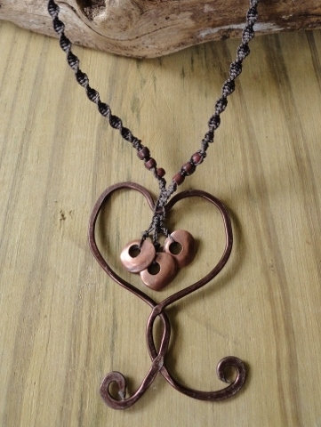Macrame Hammered Copper Heart Necklace