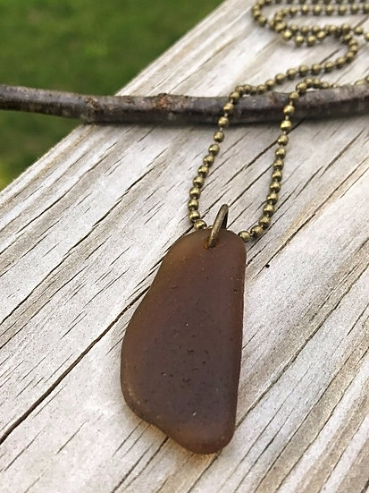 brown bottle bottom sea glass necklace