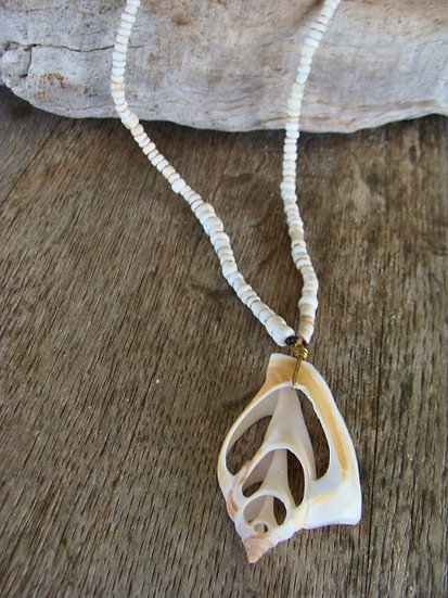 Long African Glass & Natural Shell Pendant Necklace