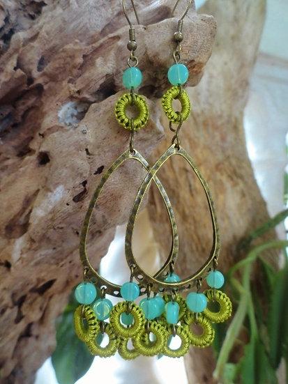 Sexy Long Chartreuse & Brass Chandelier Earrings