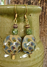 Affordable Big Olive Artisan Glass Bead Earrings