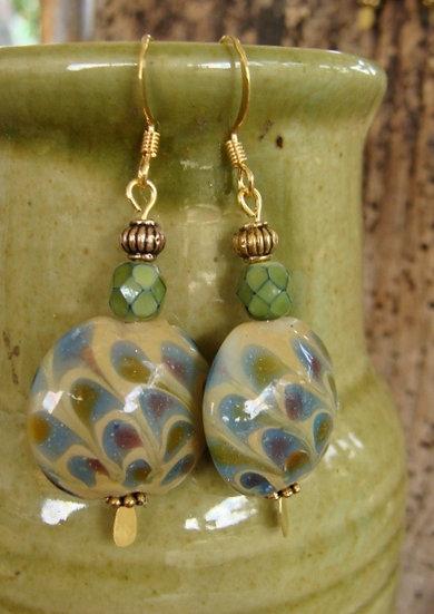 Affordable Big Olive Artisan Glass Bead Earrings