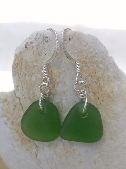 Chic Small Teardrop Green Sea Glass Earrings