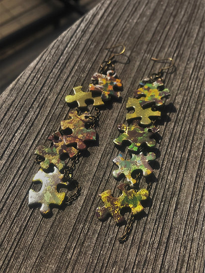 green & yellow puzzle earrings