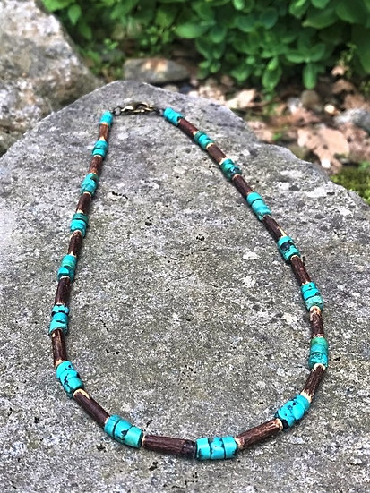 turquoise & bamboo natural surfer necklace