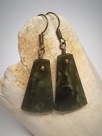 Moss Green Jade Natural Earrings