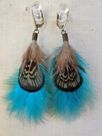small aqua natural feather earrings