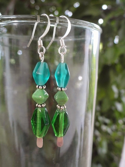 Medium Length Dangle Green Glass Bead Earrings