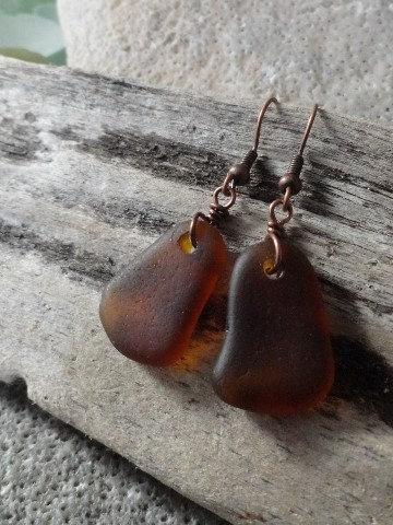 Chic Small Teardrop Brown Sea Glass Earrings