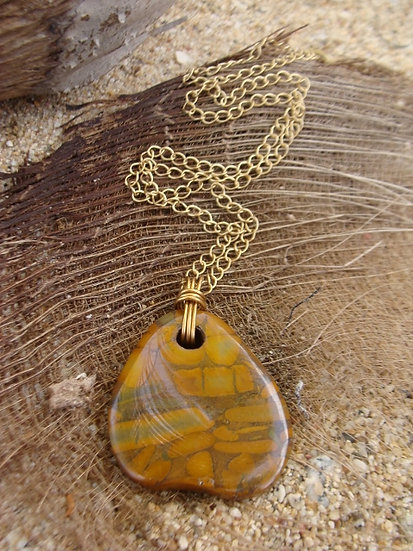 Long Crazy Agate Natural Gemstone Pendant Necklace