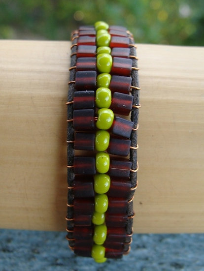 Hippie Green & Brown Glass Wide Beaded Bracelet