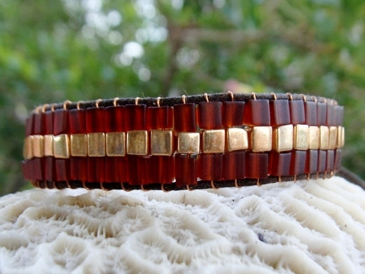 Chic Gold & Brown Glass Bead Wide Beaded Bracelet