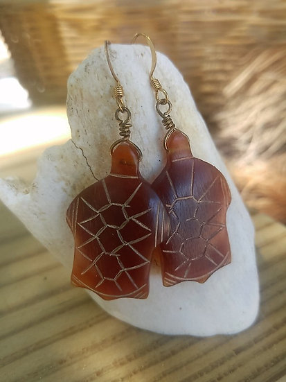 Cute Carved Horn Turtle Natural Earrings