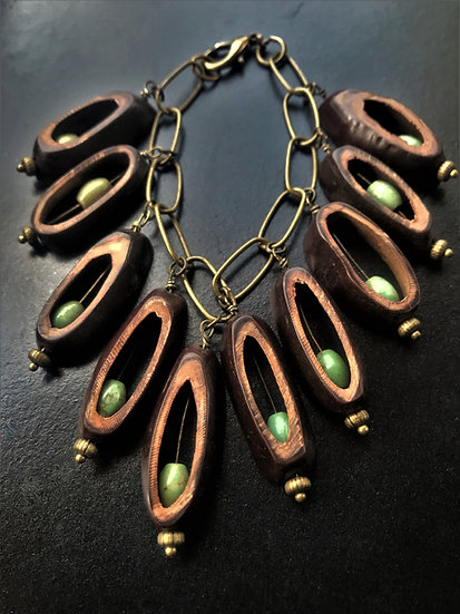 turquoise & seed pod bracelet