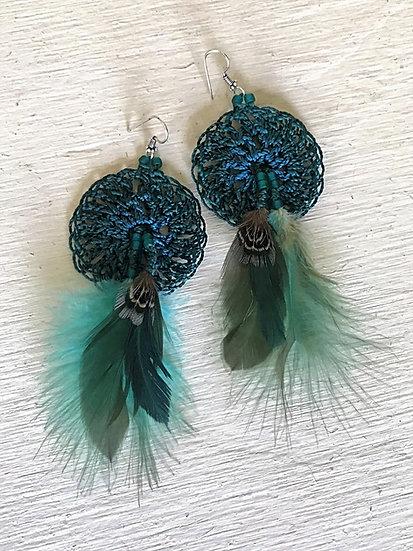 aqua & teal crochet long feather earrings