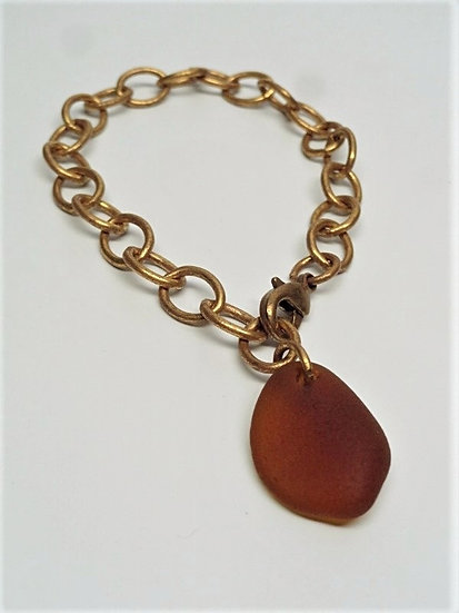 golden brown sea glass on brass metal bracelet