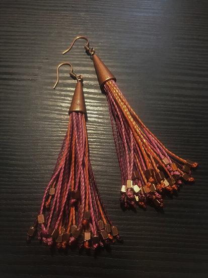 pink, mauve & peach long fringe earrings