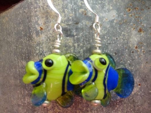 Green & Blue Artisan Glass Big Drop Fish Earrings
