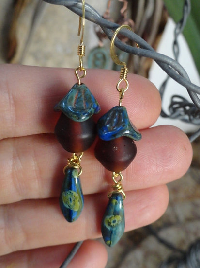 Long Blue Artisan Ceramic Glass Bead Earrings