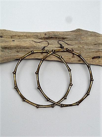 big brass bamboo hoop earrings