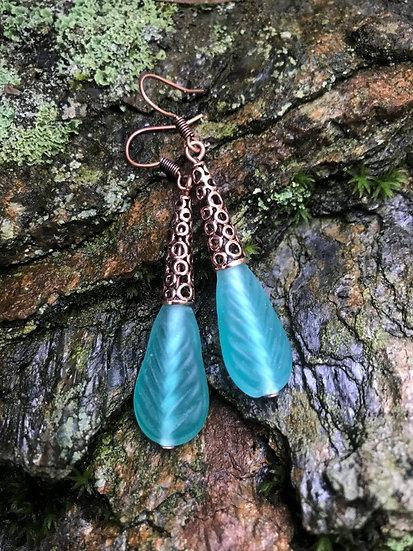 long seafoam glass leaf & copper metal earrings