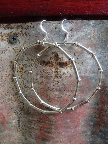big bamboo silver hoop earrings
