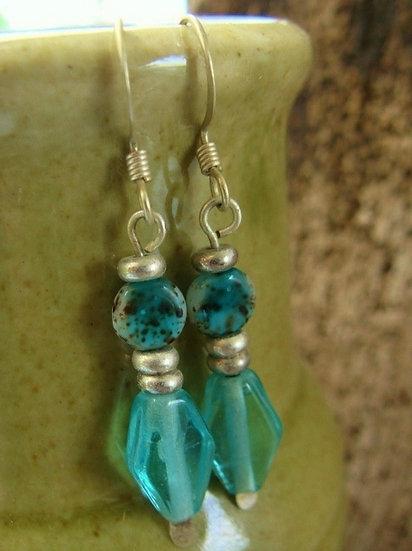 Chic Seafoam Glass Bead Small Drop Earrings