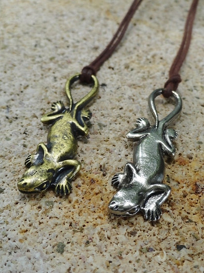 Brass or Silver Cool Gecko Kid Necklaces