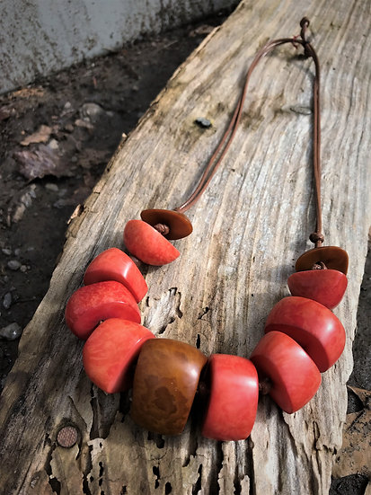 salmon & brown tagua nut long necklace