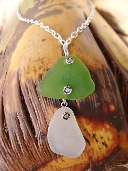 green & white mushroom sea glass necklace