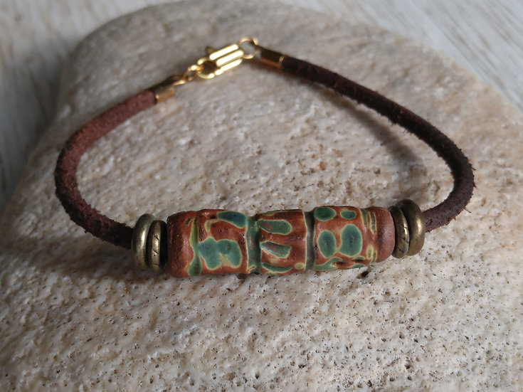 Artisan Green Clay Ceramic Bead & Leather Bracelet