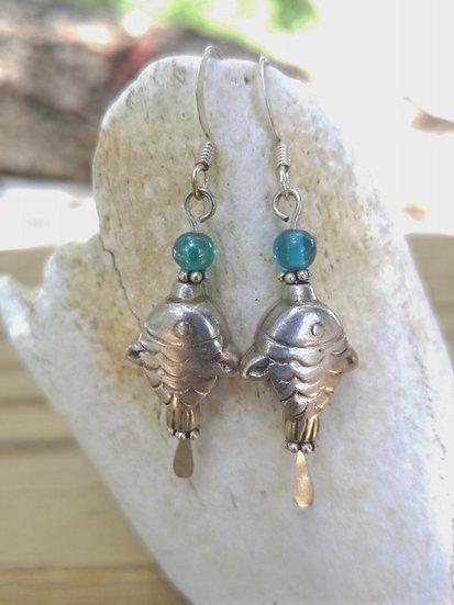 Cute Small Sterling Silver Fish Earrings