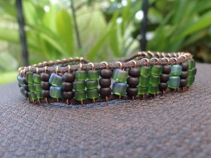 Forest Green Glass Beaded Friendship Bracelet