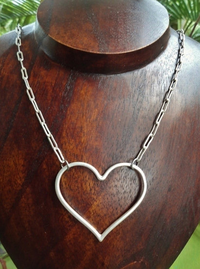 Chic & Affordable Matte Silver Heart Necklace