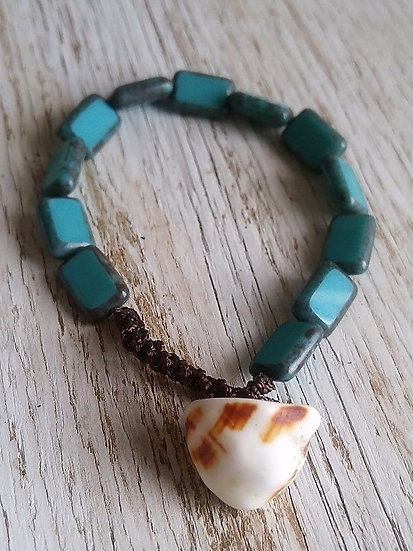natural shell & turquoise glass bead bracelet
