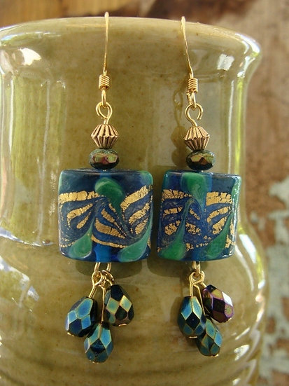 Blue & Green Dangle Artisan Glass Bead Earrings