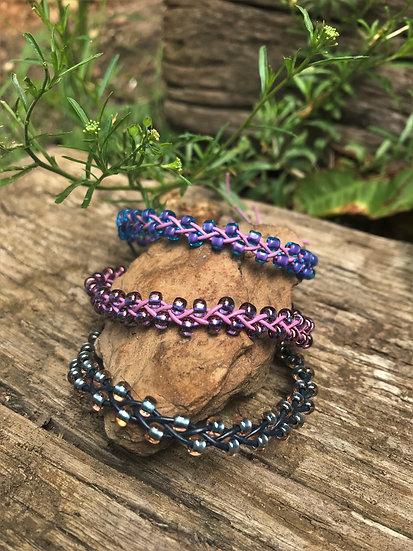 braided leather purple & blue glass bead bracelets