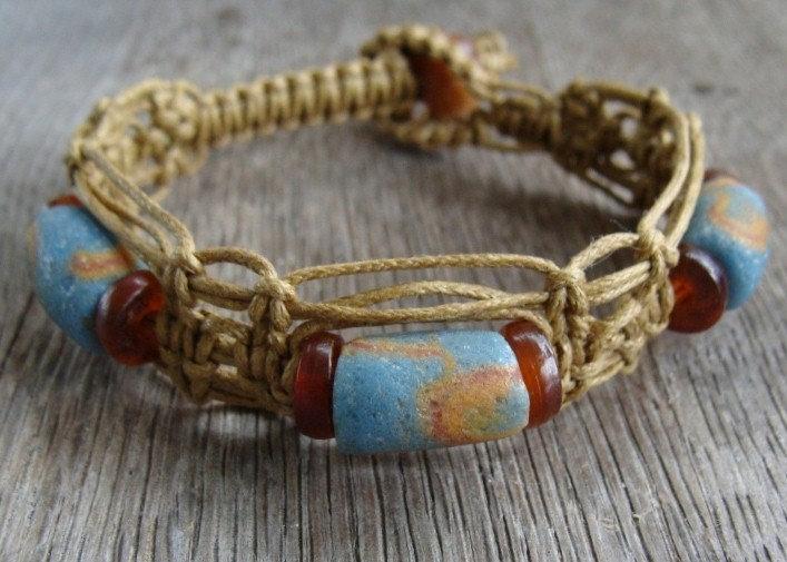 Blue Ceramic Trade Bead Macrame Surfer Bracelet