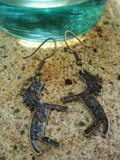 antiqued brass small horse earrings