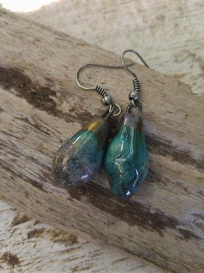 Small Aqua Artisan Ceramic Teardrop Earrings