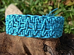 Affordable Aqua Macrame Wide Surfer Bracelet
