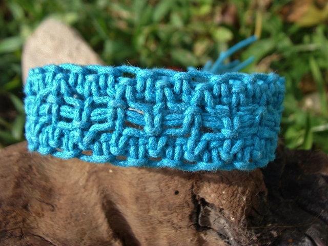 aqua blue macrame surf bracelet