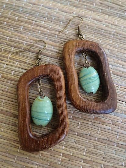 Green Ceramic Bead & Exotic Wood Natural Earrings