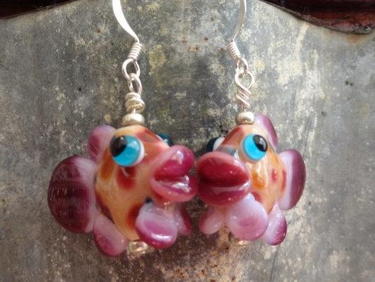 Pink Artisan Glass Big Drop Fish Earrings