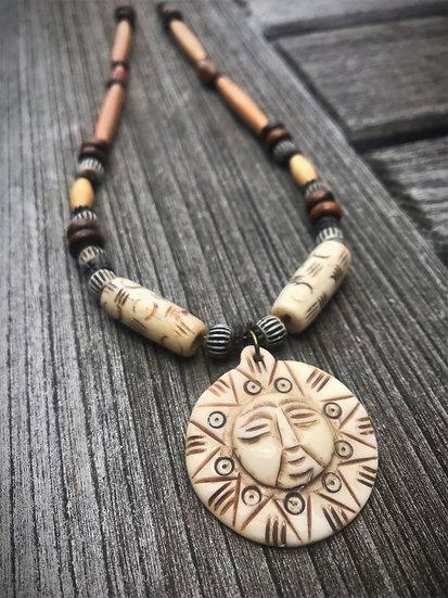 Natural Bone Tribal Sun Cool Surfer Necklace