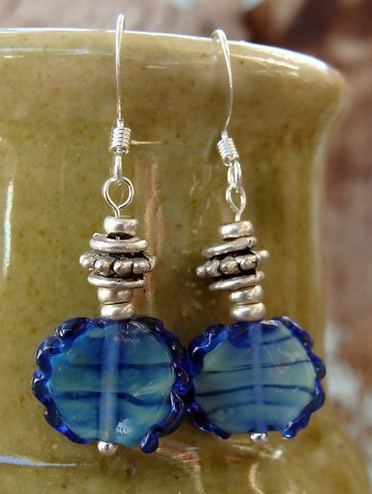 Small Drop Blue Artisan Glass Bead Earrings