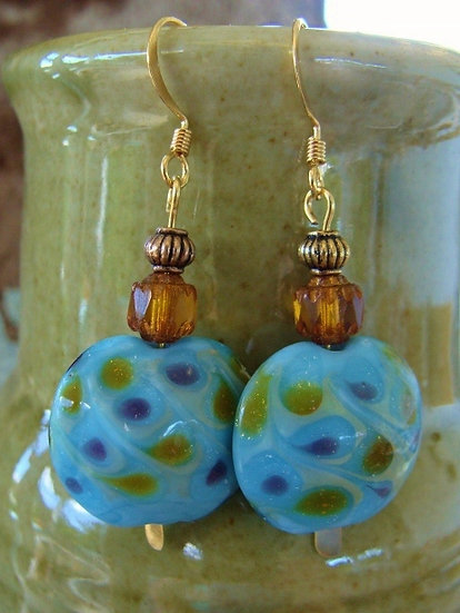 Big Polka Dot Blue Artisan Glass Bead Earrings