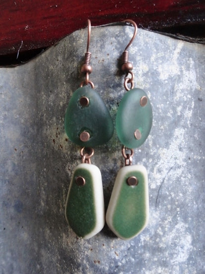 Rare Aqua Sea Glass & Green Ocean Pottery Earrings