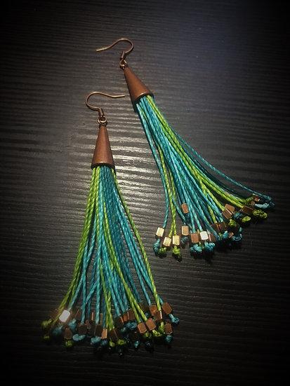 aqua & green long fringe earrings