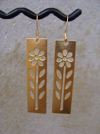 Chic Long Dangle Matte Gold Flower Earrings